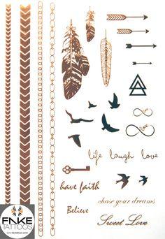 Über 25 Motive - alle in schönstem Gold. Stell Dir diese metallic tattoos auf sonnengebräunter Haut vor, kombiniert wie kein anderer - Total stylisch und