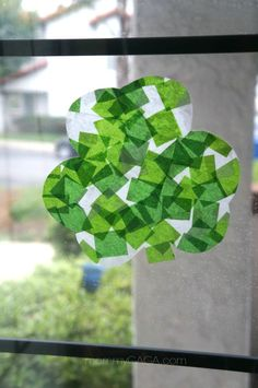 St Patricks Day Crafts for Kids, Stained Glass Tissue Paper Shamrocks