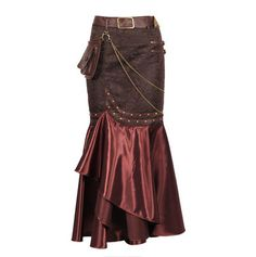 Long Ruffled Lana - Steampunk Borwn Skirt $150.00 AT vintagedancer.com