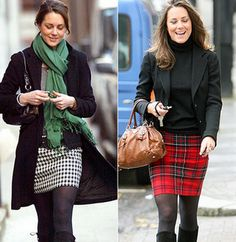 Loving Kate Middleton's casual (compared to all the gowns in her life!) yet classy career girl kind of looks. The green scarf pops against a houndstooth skirt and the Scottish red plaid skirt looks mature paired with a jacket and boots. Moda Kate Middleton, Looks Kate Middleton, Kate Middleton Fashion, Winter Skirt Outfit, Skirt Outfits, Winter Outfits, Winter Clothes, Work Outfits, Casual Outfits