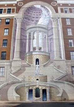 "Would you believe me if I told you that this fantastic portico doesnt really exist! Its ""just"" a mural, and what a mural, I must say! It was painted by an artist named Richard Haas on the facade of the Brotherhood building in Cincinnati, Ohio in Building Art, Building Facade, Murals Street Art, 3d Wall Art, Amazing Buildings, Unique Architecture, Outdoor Art, Public Art, Urban Art"
