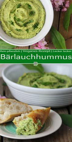 Wild garlic hummus - lightning fast, fresh and incredibly delicious! - Dailyvegan - I picked fresh wild garlic and was hungry for creamy hummus with flatbread, so I quickly created a - Fresco, Garlic Hummus, Wild Garlic, Fresh Garlic, Veggie Dishes, Food Items, Vegetarian Recipes, Food And Drink, Tasty