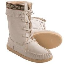 Grizzleez by Zigi Camper Moccasin Boots - Suede (For Women) in Off White - Closeouts