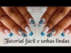 Unhas decoradas borboleta fácil nail art Laís Castilho - YouTube