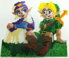 Perler Art: Link and Zelda perler beads by thewiredslain on deviantart