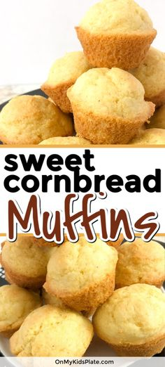 These sweet cornbread muffins are the best recipe to add to your breakfast, with chill or as a Thanksgiving side. Make these easy homemade muffins from scratch for a delicious sweet corn taste that kids and adults love. Delicious and moist with a little b Sweet Cornbread Muffins, Easy Cornbread Recipe, Honey Cornbread, Homemade Cornbread, Homemade Muffins, Corn Muffins, Mini Muffins, Cornbread Recipe From Scratch, Homemade Sweets