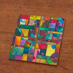 Handmade Paper Colorful  Coasters. $45.00, via Etsy.