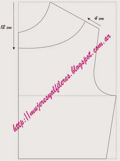 """Escote en V:   El escote de pico o """"V"""" lo formamos escotando 4 cm del cuello hacia afuera sobre la línea del hombro. Con una profundidad po..."""
