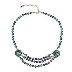 "OKAJEWELRY Vintage Crystal Blue Beads Statement Bib Choker Necklace, 12"""