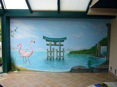 Wandbild Flamingos im Wasser gemalt vom Gibki Malermeisterbetrieb in Köln (51109)   Maler.org