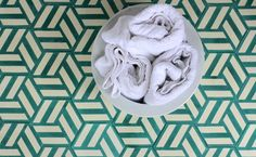 popham's handmade cement encaustic tiles- knot design in jade and cream, love it- available at beach house tile studio