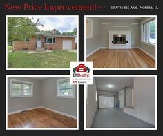 This home just experienced a price improvement!  To see more information, check out our website: https://www.bnrealty.com/homes/1107-West-Ave/Normal/IL/61761/74006357/  All-brick, 4 bedroom and 2 full bath, ranch. New interior paint 2017, along with new kitchen counter tops, new oven, and new stove. 2012 new AC. This home has beautiful hardwood floors on the first floor. The living room is great for entertaining with its cut out window to the kitchen, painted brick fireplace and wall, and…