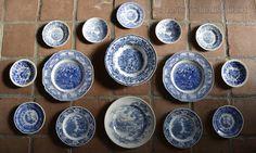 Instant Wall Decor! 15 Blue & White Mix n Match English Toile Transferware Plates