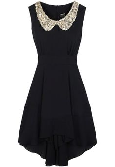 Black Sleeveless Sequined High Low Waist Dress