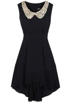 Black Sleeveless Sequined High Low Waist Dress