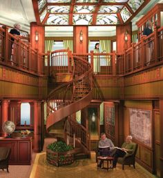 """The ship's library on Cunard's Queen Victoria. """"The nearly 6,000 book traditionally-styled English Library, situated on 2 and 3 Decks, is a stunning double-deck room with rich mahogany wood panelling, stained glass, leather sofas and armchairs and a spiral staircase. The library has two full-time Librarians in attendance."""""""