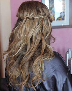 Fully beautiful half up #Wedding #Hairstyle by Olga Bustos #Braids #WaterfallBraid #MakupArtist #HairDesigner in #Cabo