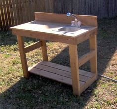 New 4ft Cedar Potting Bench Gardening Benches with Sink Planting Station | eBay (same seller as other ebay bench) - we may not need both benches, and in fact might not need the sink at all with the hose post nearby.