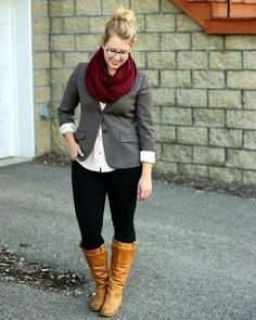 Love the color of the scarf, the button up shirt, and the boots.