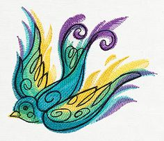 """""""Painted Swallow"""" Washes of stitched color make up a dynamic tattoo-style bird. Sewing Machine Embroidery, Free Machine Embroidery Designs, Embroidery Files, Embroidery Patterns, Hand Embroidery, Dynamic Tattoo, Urban Threads, Vintage Canvas, Bird Drawings"""