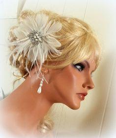 WEDDING BRIDAL FASCINATOR , vintage style pearl rhinestone brooch, feather fascinator -hair clip, head piece