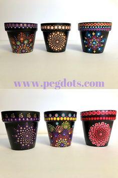 Original, hand painted mandala style gifts & decor by PegDots Hand painted indoor flower pots. Funky home decor for garden lovers! Click through for more awesome gift ideas. Flower Pot Art, Flower Pot Crafts, Clay Pot Crafts, Plate Crafts, Rock Crafts, Painted Plant Pots, Painted Flower Pots, Pottery Painting Designs, Rock Painting Designs
