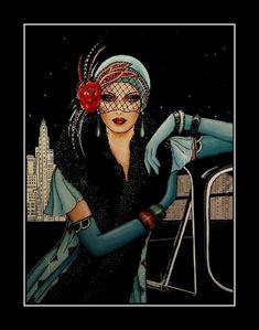 Art Deco Illustration, Fashion Illustration Vintage, Digital Illustration, Arte Fashion, Art Deco Fashion, Fashion 1920s, Girl Fashion, Trendy Fashion, Harlem Renaissance Fashion