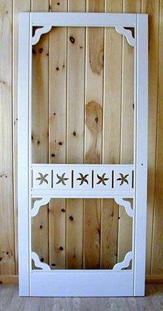 Screen door with starfish cutouts...love it!  I bet we could create this out of a standard wooden screen door...