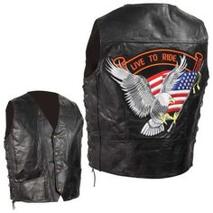 Diamond Plate Side Lace Mens Live to Ride Eagle Patch Motorcycle Vest comes in solid black and is made of hand-sewn, pebble grain buffalo leather with side laces for size adjustment and will show your patriotism with a Large American Eagle Patch holding a USA flag on the back with Live to Ride above the patch for bikers and cruiser style motorcycle riders.