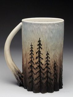 Dow Redcorn Mug at MudFire Gallery.  Unique. It is made on wheel thrown, hand carved and other interesting techniques...: