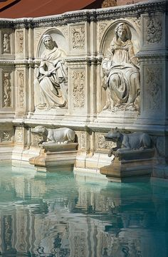 Fonte Gaia in Piazza del Campo in Siena has been the most public of the city's fountains since 1342 - in English it's called the Fountain of Joy. In 1409 Jacopo della Quercia added the basin to the great joy of the local pigeons!