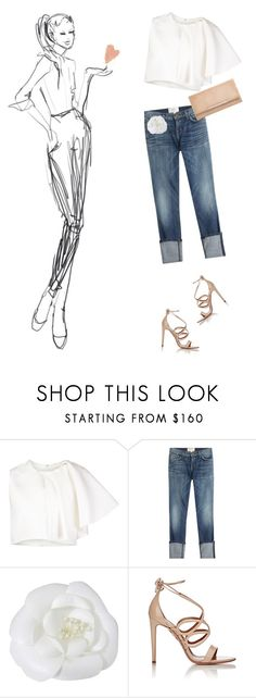 """love it!"" by a-82 ❤ liked on Polyvore featuring Current/Elliott, Chanel, Aquazzura, Jimmy Choo and WardrobeStaples"