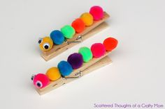 Scattered Thoughts of a Crafty Mom: Kid Craft: Clothespin Caterpillars