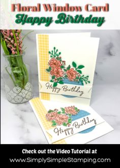 I love showing you how to make a floral window birthday card for Mom, friends, sisters- anyone on your list. Let's get started! Birthday Cake Card, Birthday Cards For Mom, Handmade Birthday Cards, Diy Birthday, Greeting Cards Handmade, Card Making Tutorials, Card Making Techniques, Birthday Sentiments, Star Cards