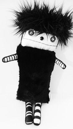 OoAK Black and White Faux Fur Plush Boy Art Doll Plushie