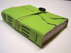 longstitch binding & hand torn paper
