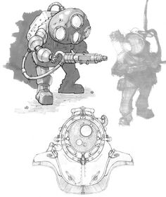 View an image titled 'Big Daddy Sketches' in our BioShock art gallery featuring official character designs, concept art, and promo pictures. Character Concept, Character Art, Concept Art, Character Design, Bioshock Artwork, Environment Painting, Video Game Art, Video Games, Big Daddy