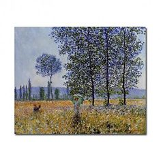 Hand-painted Oil Painting Sunlight Effect under the Poplars by Claude Monet with Stretched Frame - OutletsArt.com