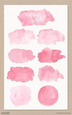 Aquarel spatten Clipart roze aquarel penseelstreken Blots