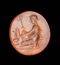 Round gem with kneeling figure (Amymone?)   Museum of Fine Arts, Boston