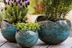 Modrý květináč -koule / od Keramirka   Fler.cz Decorative Bowls, Pottery, Tableware, Garden, Ceramica, Dinnerware, Garten, Pottery Marks, Tablewares