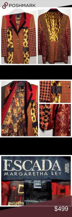 """Like New Vintage 1980s Escada Jacket Blazer Size 8 Like New Vintage 1980s ESCADA blazer jacket has so much texture! Shades of Reds, Golds, Orange, Browns and Black. Velvet patches of Leopard print. Great tweed sleeves and plaid wool. Cool brown & gold buttons. Super cool. Has sewn in shoulder pads within the lining.  MEASUREMENTS: ACROSS SHOULDER: 16"""" ACROSS PIT TO PIT: 18"""" ACROSS WAIST: 17"""" (BACK) LENGTH: 30"""" SLEEVE LENGTH: 24""""  Thanks so much for your support. Good luck. Escada Jackets…"""