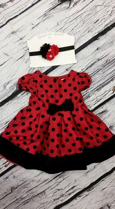 Baby toddler girl black pika dot Christmas holiday dress 12 months with matching headband by HeartTOHeartCO on Etsy https://www.etsy.com/listing/254574046/baby-toddler-girl-black-pika-dot