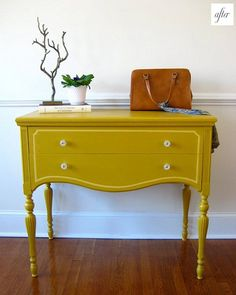 painted furniture yellow...THIS AT SALVATION ARMY IS PROBABLY $15 AND USE AN OLD PAINT YOU ALREADY HAVE!...KINDA CUTE!