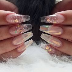 transparency nail art designs | coffin | ideas | summer 2017 | glass art | simple | easy Nails 2017, 3d Nails, Matte Nails, Dope Nails, Coffin Nails, Simple Acrylic Nails, Clear Acrylic Nails, Clear Glitter Nails, Transparent Nails