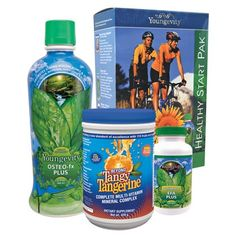 """PIN IT TO WIN IT!"" - A Healthy Start Pak by Youngevity - If you already eat right and maintain a healthy lifestyle, this is the kit for you! Each pack provides broad spectrum foundation nutrition and includes Beyond Tangy Tangerine® - 420g canister (1), EFA PLUS™- 90 soft gels (1), and Beyond Osteo-fx™ - 32 oz (1)."