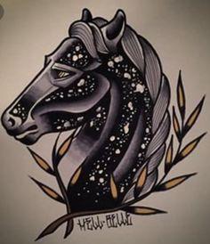 Black Horse tattoo idea old school