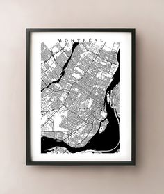 Montreal Map  Black and White Wall Art Quebec Art par CartoCreative, $20,00