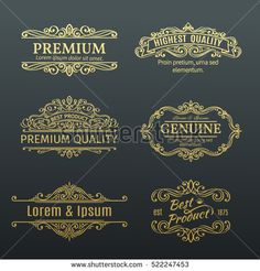 Vintage Vector Golden Banners Labels Frames. Calligraphic Design Elements . Decorative Swirls, Scrolls, Dividers and Page Decoration.