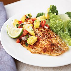 Spicy Tilapia with Pineapple-Pepper Relish (228 calories per serving of 1 filet and 1/2 c. of relish)